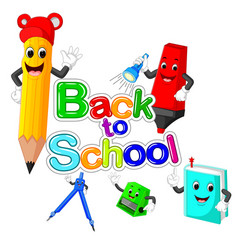 Back to school title texts with school items vector
