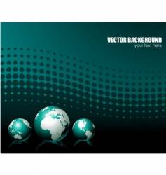 background with three globe vector image