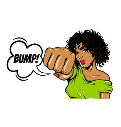 black woman pop art wow face show bump kick vector image