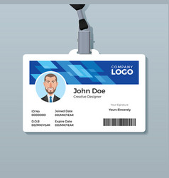 Blue office id badge design template vector