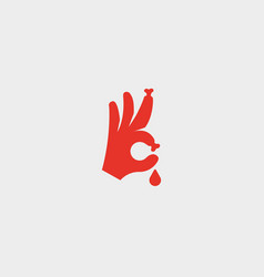 Bones fingers sign hand ok blood symbol vector