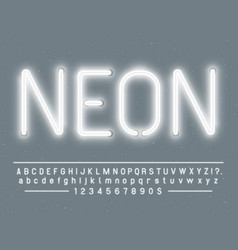 Bright glowing white neon sign characters vector