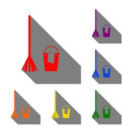 broom and bucket sign set of red orange yellow vector image