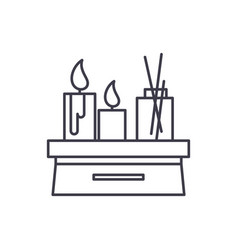 candles in the interior line icon concept candles vector image