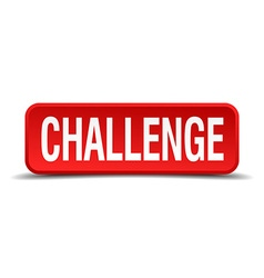 challenge red 3d square button on white background vector image