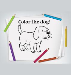 Children dog coloring worksheet vector