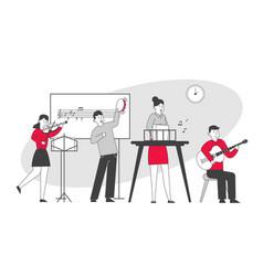 Children on lesson in music school teacher and vector