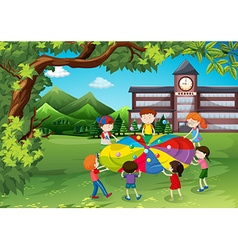 Children playing in the school yard vector image