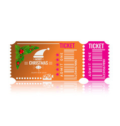 christmas or new year party ticket card design vector image