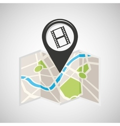 cinema map pin pointer design vector image
