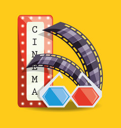 Cinema with filmstrip and 3d glasses design vector