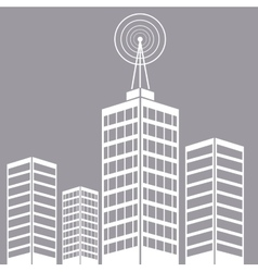 City building tower antenna transmitter vector