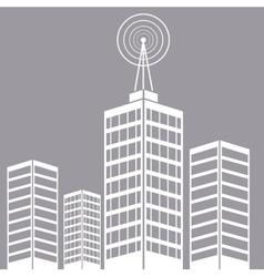 City building tower antenna transmitter vector