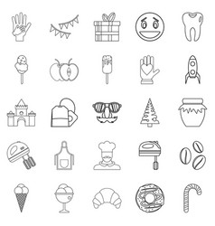 Confectionery shop icons set outline style vector
