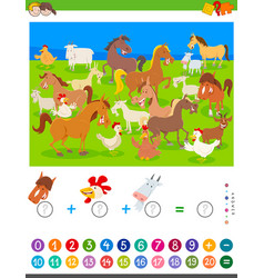 Counting and adding game with cartoon farm animals vector