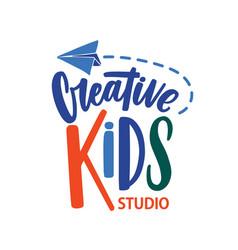 Creative kids studio flat logo cartoon vector