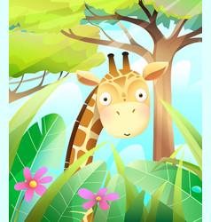 Cute baby giraffe in savannah trees nature vector