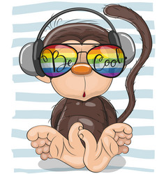 cute monkey with sun glasses vector image
