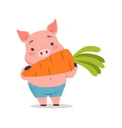 Cute pig eating carrot funny cartoon animal vector