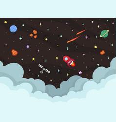 cute space galaxy flat design cartoon on dark vector image