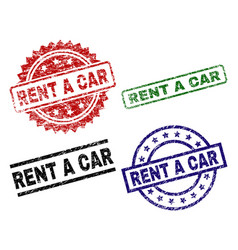 Damaged textured rent a car seal stamps vector