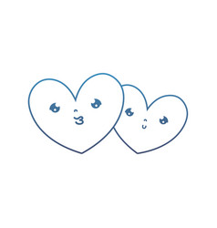 Degraded line kawaii nice heart couple together vector