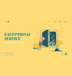 deposit box concept website landing page woman vector image