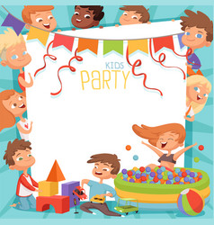 Design template of kids party invitation vector