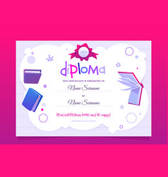 Diploma for kids with cartoon books vector