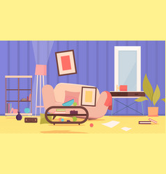 Dirty messy room damaged sofa disorganized home vector