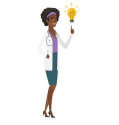 Doctor pointing at bright idea light bulb vector