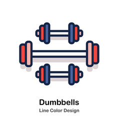 Dumbbells line color vector