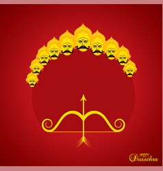 Dussehra festival greeting or poster design vector
