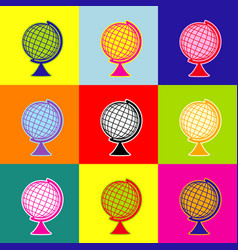earth globe sign pop-art style colorful vector image