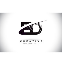 Ed e d letter logo design with swoosh and black vector