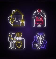 Family celebration neon light icons set vector