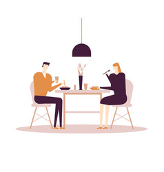 family having dinner - flat design style colorful vector image