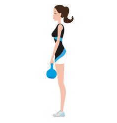 fitness woman lifting kettlebell 08 vector image