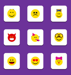 Flat icon face set of pleasant caress laugh and vector