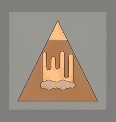 flat shading style icon mountain avalanche vector image