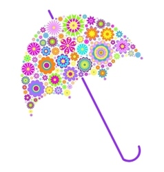 Floral umbrella on white background vector