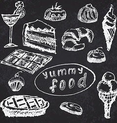 Food deserts set sketch handdrawn on blackboard vector