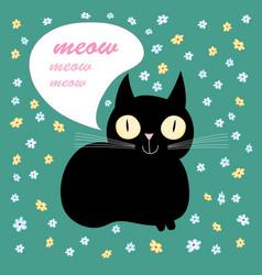 funny black cat vector image