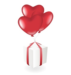 Gift box with heart balloons vector image