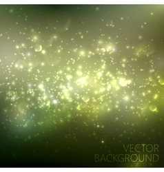 Green sparkling background with glowing sparkles vector
