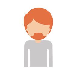 Half body faceless man with short hair and van vector