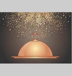 hand-drawn golden tray for hot dishes vector image