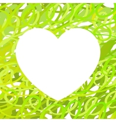 Hand drawn Heart symbol calligraphy Green vector image