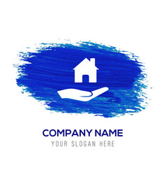 hands holding house icon - blue watercolor vector image