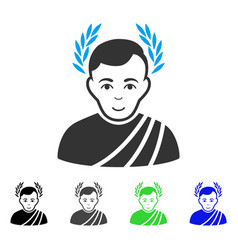 Happy caesar wreath icon vector